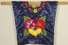 Mexican huipil, handmade blouse with hand embroidered flowers on satin navy blue, Istmo de Tehuantepec, Oaxaca, Mexico, style Frida Kahlo de CadenillayFlores en Etsy
