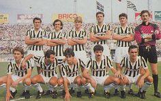 1985 Juventus, top, left to right: Gaetano Scirea, Michel Platini, Michael Laudrup, Sergio Brio,  Aldo Serena, Stefano Tacconi , Bottom, left to right: Lionello Manfredonia, Antonio Cabrini, Gabriele Pin, Luciano Favero, Massimo Mauro