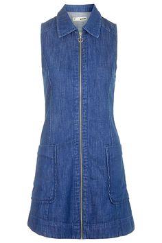MOTO Denim Zip Front Dress