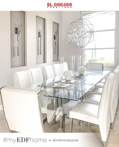 This dining room, designed by adds a contemporary touch to your dining! This room features many of our pieces including the Ulysis Side Chair, Boss Accent Chair, and Modern Grey Kitchen, Grey Kitchen Designs, Rustic Kitchen, Kitchen Decor, Luxury Dining Room, Dining Room Design, Dining Room Table, Dining Rooms, Dining Area