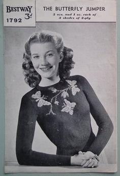 Vintage Knitting Pattern 1940s Womens Sweater Jumper Butterfly Motif Design 40s original pattern Bestway No. 1792