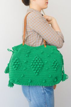 Handbag Tote Leather Bag Green Bag Tote Boho Bag Women Bag Leather Tote  Fashion Women Accessory Handmade Bag Summer Bag Crochet Bag