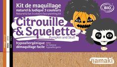 kit de maquillage bio Namaki 3 couleurs Citrouille et Squelette
