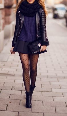 Gorgeous street style with leather jacket, sweater, skirt and leggings   http://www.pinterest.com/adisavoiaditrev/boards/