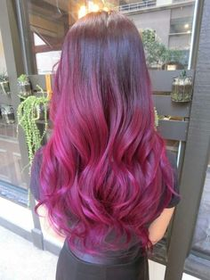 Ombre hair brown to pink highlight