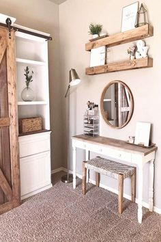 Farmhouse Fanatics on Instagram Doubletap if youre diggin this rustic makeup vanity#diggin #doubletap #fanatics #farmhouse #instagram #makeup #rustic #vanity #youre Rustic Makeup Vanity, Bedroom Makeup Vanity, Rustic Vanity, Makeup Room Decor, Farmhouse Vanity, Farmhouse Mirrors, Rustic Farmhouse, Bedroom Styles, New Room