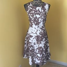 Eyelet dress Just in time for summer brown and white eyelet a line dress New York & Company Dresses