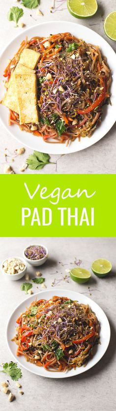 (Vegan and GF) Vegan Pad Thai - I love this super healthy vegan Pad Thai recipe so much, it's one of my favorite dishes at the moment!