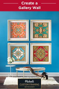 Create a gallery wall in your home with custom framed art! With over 450 mouldings and 300 archival mats, you can create the perfect frame for your space. Find out more about custom framing a gallery wall at your local Michaels store.