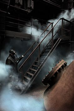 Apocalyptic by Bousure, via Flickr #urbex #gasmask #industrial