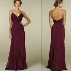 Burgundy Bridesmaid Dresses 2016 Cheap Sexy Deep V Neck Spaghetti Straps Open Back Wedding Party Gowns Chiffon Ruched Long Bridesmaids Dress