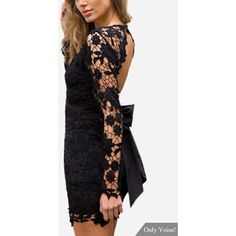 Yoins Black Sexy V-neck Hollow Design Backless Self-tie Lace Dress ($31) ❤ liked on Polyvore featuring dresses, sexy short cocktail dresses, lace dress, lace cocktail dress, sexy short dresses and sexy cocktail dresses