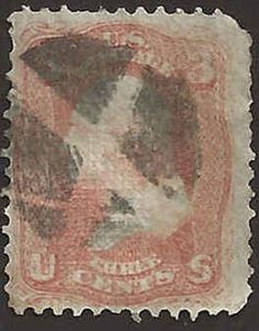 "US 19th Century Scott # 94 - 3¢ Red Used George Washington ""F"" Grill  FAULT #B5B"