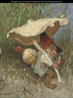 A travelling gnome with his toadstool - Heinrich Schlitt