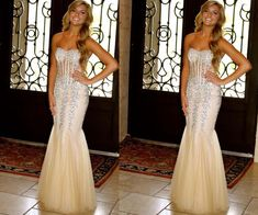 Champagne Prom Dresses,Tulle Prom Dress,Sexy Prom Dress,Mermaid Prom Dresses,2016 Formal Gown,Beading Evening Gowns,Beaded Formal Dress,2016 Prom Gown For Teen