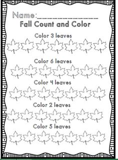 Fall count and color for kindergarten