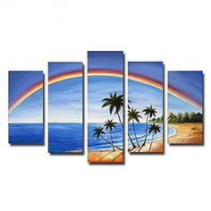 Hand-painted Landscape Oil Painting with Stretched Frame - Set of 5 - OutletsArt.com
