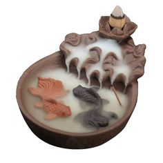 Fishes Pond Incense Holder, Backflow Incense Burner Incense Stick Holder Handmade Ceramic Figurine Incense Cone Holders Home Decor Gift Decorations Statue Ornaments with 10 Incense Cones (Fishes) Incense Cones, Incense Sticks, Fisher, Dragon Incense Burner, Ceramic Incense Holder, Diy Incense Holder, Sandalwood Incense, Buddha Decor, Meditation Gifts