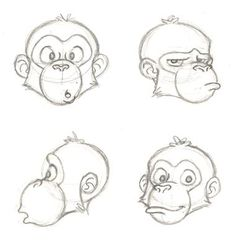 chimp face sketches by PixarVixen on DeviantArt – Animal Drawing Pencil Art Drawings, Art Drawings Sketches, Disney Drawings, Cute Drawings, Cartoon Sketches, Animal Sketches, Animal Drawings, Drawing Cartoon Characters, Monkey Art