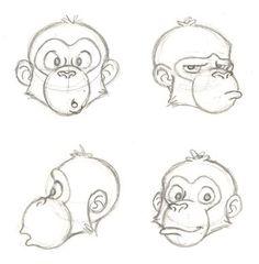 chimp face sketches by PixarVixen on DeviantArt