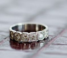 Art Deco inspired diamond wedding band