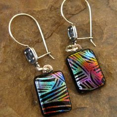Fused Glass Earrings Dichroic Fused Glass  Black by GlassCat, $25.00