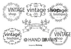 Free Vector Hand Drawn Label Set