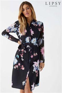 L2018 Lipsy Floral Midi Shirt Dress