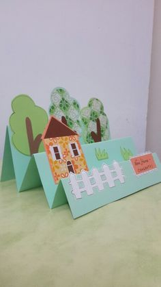 new home greeting card new address gift diy decorate and create Paper Crafts For Kids, Preschool Crafts, Diy For Kids, Diy And Crafts, Diy Paper, New Home Greetings, Creative Activities, Activities For Kids, Paper Flowers Craft