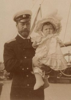 "ohsoromanov: "" Tsar Nicholas II holding Tsarevich Alexei Nikolaevich, 1905.(source:VK) """