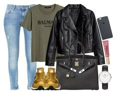 """""""Balmain, Nike and Too faced"""" by camrzkn ❤ liked on Polyvore featuring Zara, Daniel Wellington, NIKE, Hermès and Too Faced Cosmetics"""