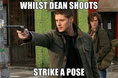 Sam practicing his model moves while Dean shoots