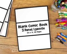 An blank comic to create great stories for children and adults. One repetitive arrangement of 3 panels. 120 pages of the same template. Perfect template for children and beginners, it has a lot of space for drawing. There will always be some space for an additional drawing or speech bubble. Ideal for advanced cartoonists who like wide, complex scenes.