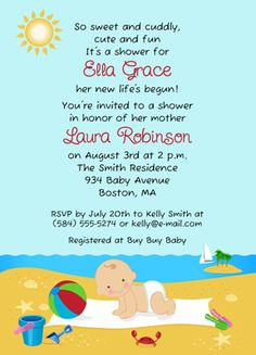 Summer Beach Theme Starfish Baby Shower Invitation June 14th baby