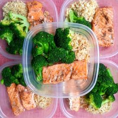 """""""Mid-week meal prep with @nathansrun: garlic brown rice, steamed broccoli and baked jerk salmon. I'm thinking about adding this one to the Meal Prep…"""""""