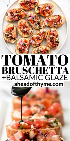 Italian Appetizers Easy, Tomato Appetizers, Tomato Bruschetta, Bruschetta Recipe, Appetizer Recipes, Tomatoes On Toast, Vegan Lentil Soup, Roasted Vegetable Recipes, Balsamic Glaze
