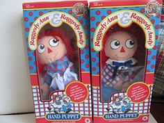 Set Raggedy Ann and Andy Doll Lot Puppets Mint in Box 1991 Main Street Toy Co.