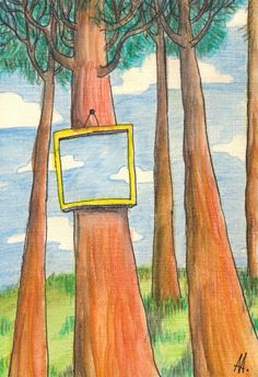 Пейзаж с зеркалом (Landscape with a mirror)(130*188, бумага, линер, карандаши)
