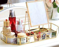 Makeup Mirror Makeup Tray Makeup Vanity Mirror Decorative Mirror Mirror for Dressing Table Rose Gold Mirror Champagne Desk Mirror Makeup Tray, Makeup Storage Box, Makeup Vanity Mirror, Cosmetic Storage, Vanity Tray, Makeup Box, Mirror Mirror, Makeup Tables, Makeup Drawer