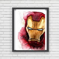 IRON man comic Watercolor art Print  Decor paint Acuarela impresión Superheroes tony Stark