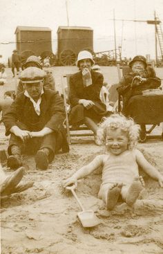 Vintage~ day at the beach (I love these shots. It always makes me wonder about the people in them, who they were, and the lives they led. A whole life swallowed up in one shot.)
