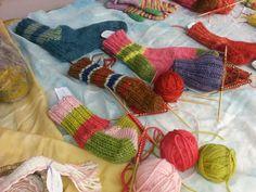 Hand knitting socks