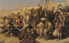 """Foto oder Gemälde? Hier das hyperrealistische Gemälde """"Markt in Kairo"""" von Leopold Carl Müller aus dem Jahr 1878. Öl auf Leinwand, 136 x 216,5 cm"""