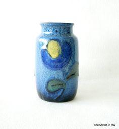 Vintage vase,Scheurich 231-15, blue vase,Mid Century Modern collectible vase.WGP.