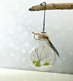 Repurposed light bulb terrarium-  glass christmas ornament- moss terrarium ornament- birch tree modern desk decor by omorfigiadesigns on Etsy https://www.etsy.com/listing/253602122/repurposed-light-bulb-terrarium-glass