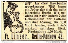 Original-Werbung/ Anzeige 1912 - IN DER LOTTERIE GEWINNEN / LINSER - BERLIN-PANKOW - ca. 45 x 25 mm