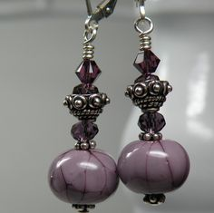 Upside down bead cap...............................................Handmade Lampwork Bead Dangle Earrings
