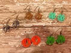 "Monogrammed 1""acrylic circle disc earrings on Etsy, $9.00"
