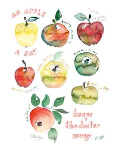 Items similar to An apple a day Kitchen art print Watercolor fruit Food illustration on Etsy Watercolor Fruit, Watercolor Paintings, Watercolours, Painting Art, Watercolor Ideas, Painting Videos, Kitchen Prints, Kitchen Art, Kitchen Posters