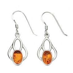 Sterling Silver asnd Amber Celtic Drop Earrings €30, free delivery